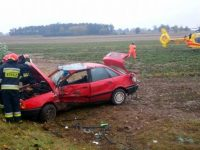 Goławin: Dachowanie Audi. Ranny 51-latek