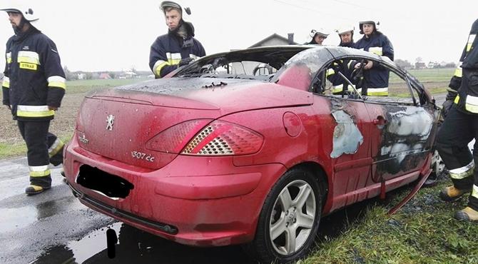 Wygoda Smoszewska: Pożar samochodu osobowego
