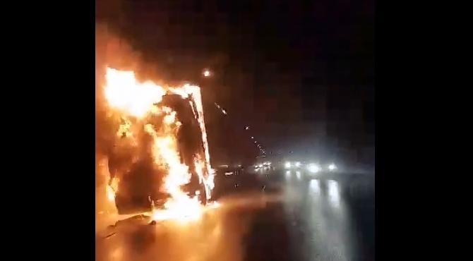Kazuń Nowy: Pożar ciężarówki na DK85